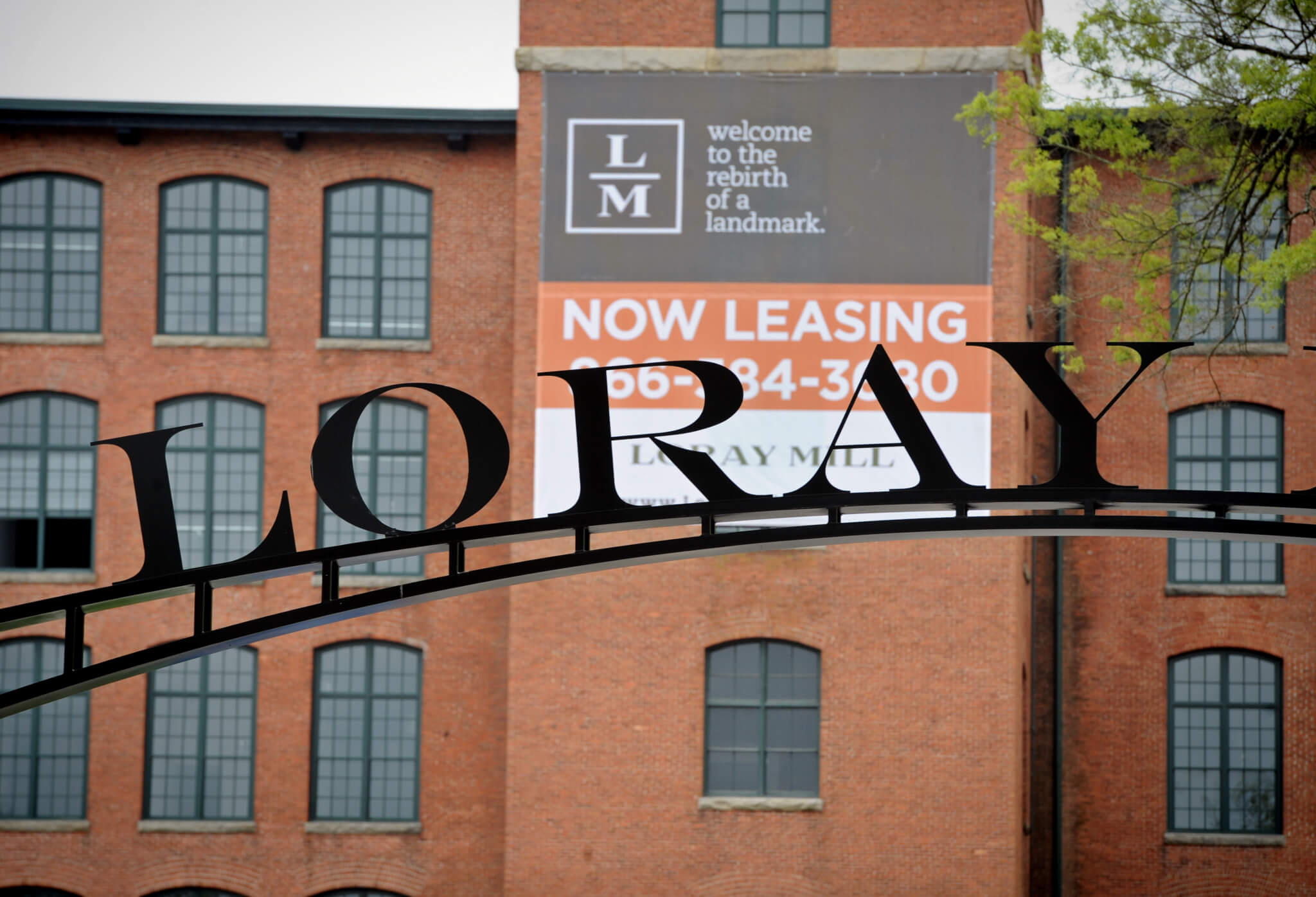 The entrance to renovated Loray Mill