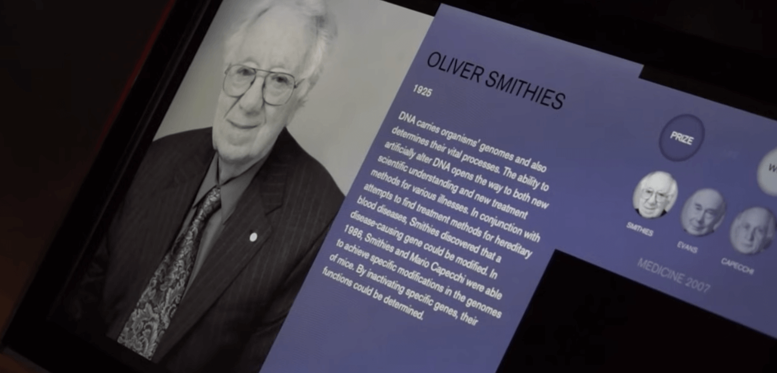 Display of Oliver Smithies at the Nobel Museum