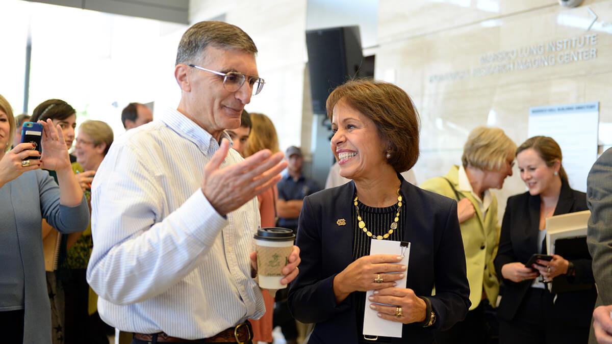 Aziz Sancar with Chancellor Carol L. Folt