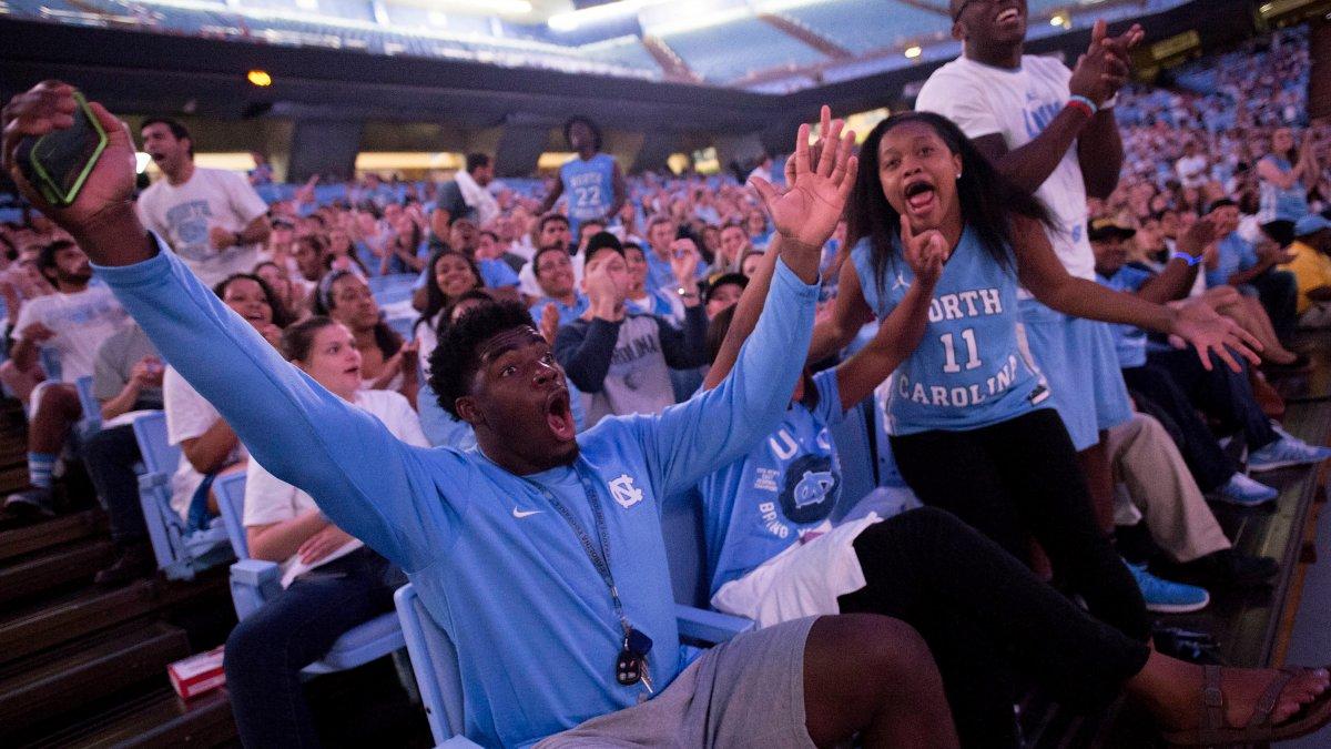 Fans celebrate.