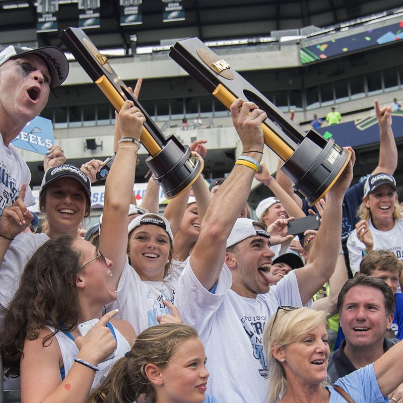 Men's and women's lacrosse teams celebrate national titles.