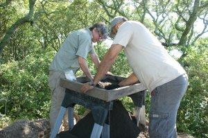Eric Deetz and Eric Bezemek shift through dirt.