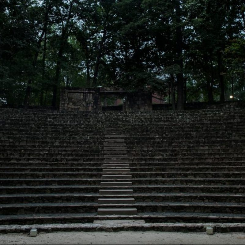 Forest theatre steps are dark.