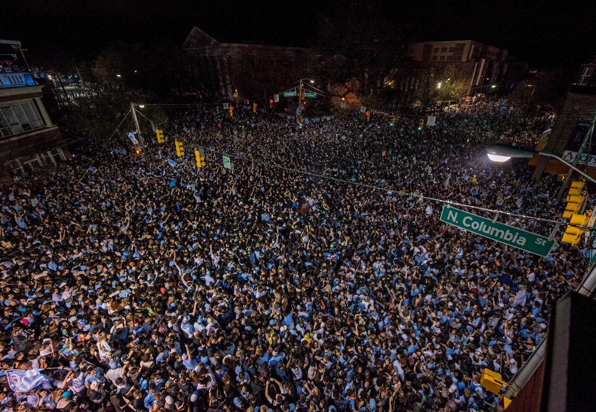 Crowd gather on Franklin Street to celebrate.