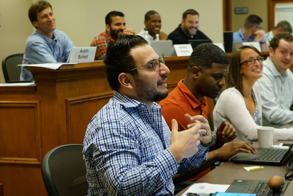 A participant in an Executive MBA class responds to the instructor.