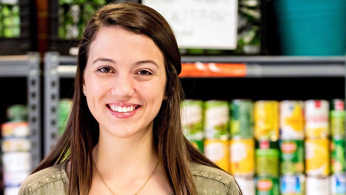 Analisa Sorrells in a food bank.
