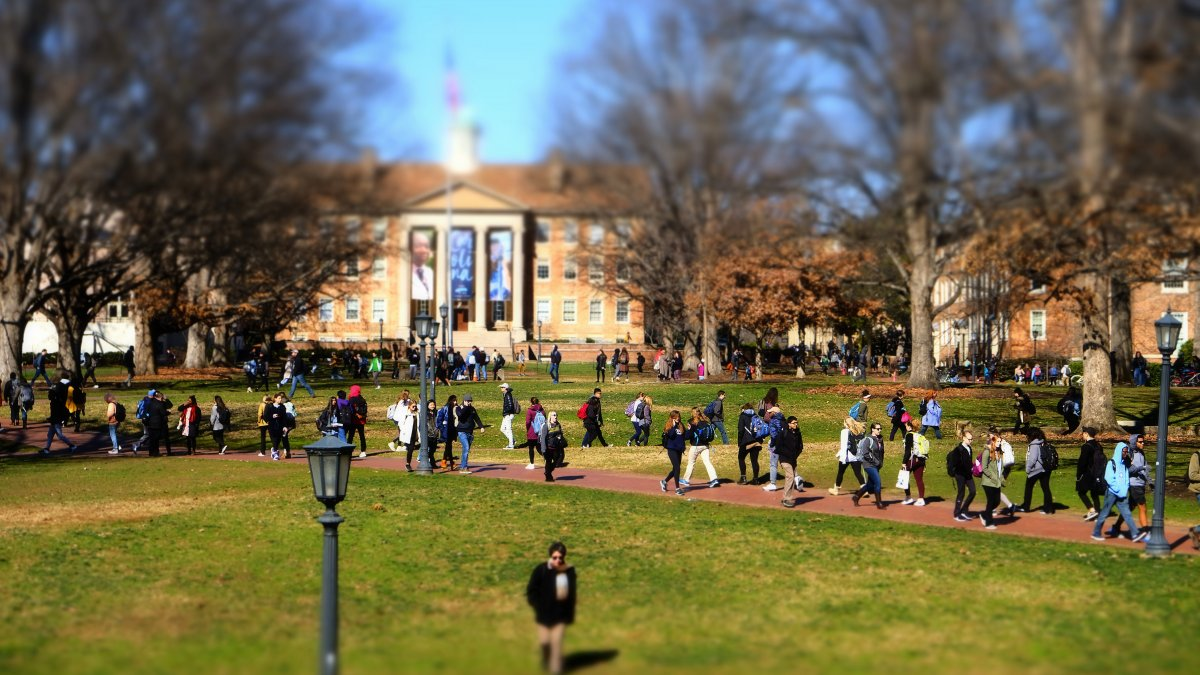 Students walk on campus.