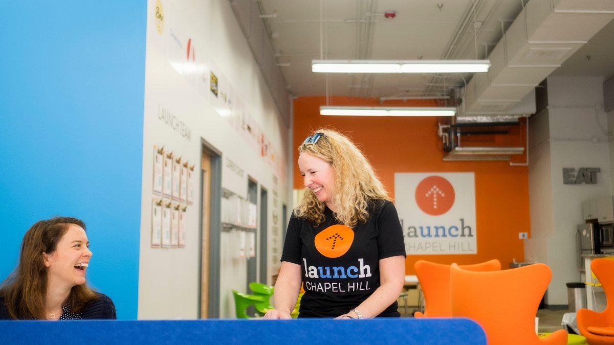 A woman talks at Launch Chapel Hill