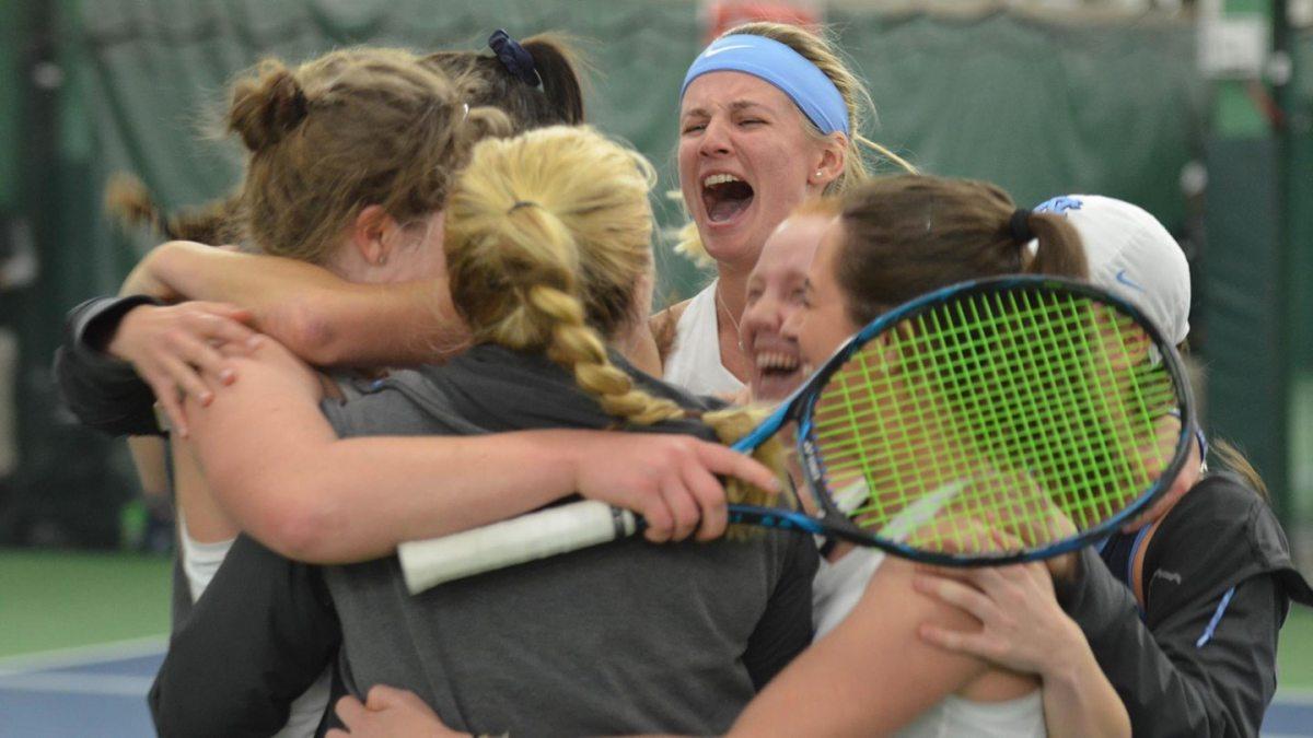 Carolina's women's tennis team celebrates