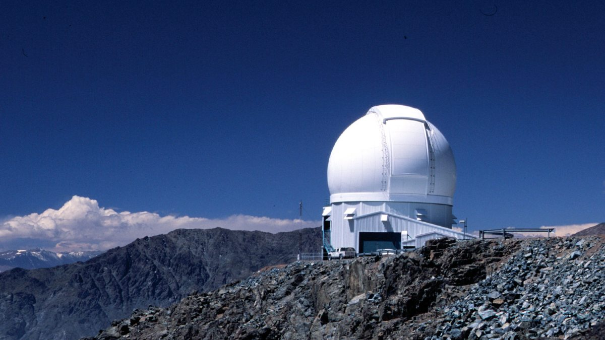 The dome of the SOAR telescope observatory 8,775 feet in the Chilean Andes is shown in this photo.