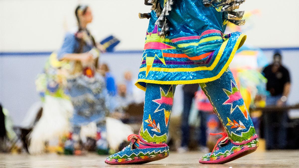 Feet of powwow dancer