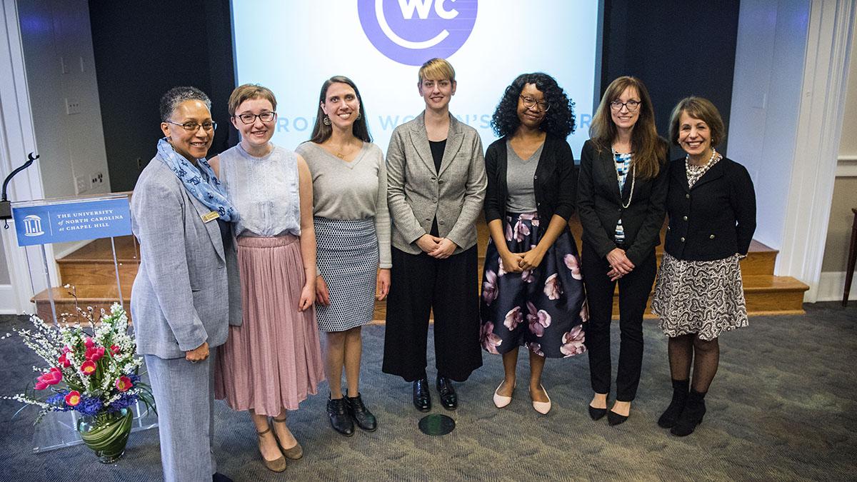 Gloria Thomas, Emily Hagstrom, Katrina Morgan, Francesca Bernardi, Erica Wallace, Marcey Waters and Chancellor Carol L. Folt.
