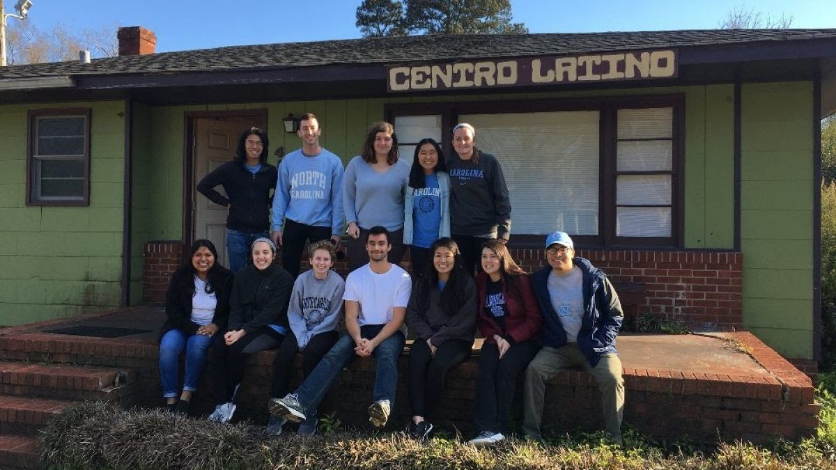 A group of students outside El Centro Latino.