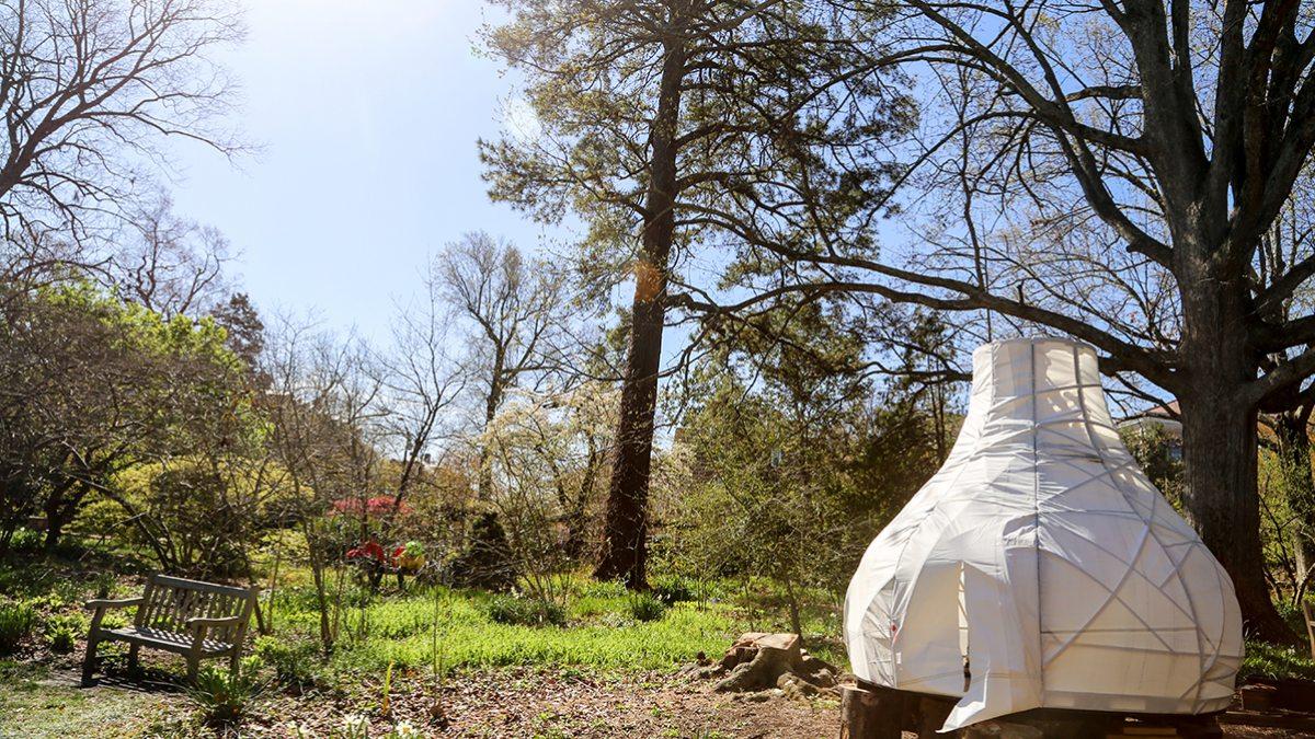 Seussian Igloo in a garden.