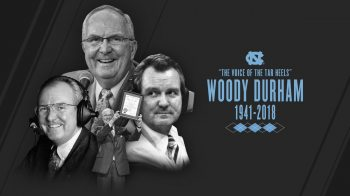 "Graphic that reads ""Woody Durham 1941-2018."""