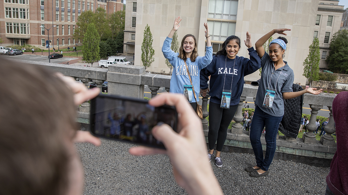 Students pose for a photo on Bell Tower.