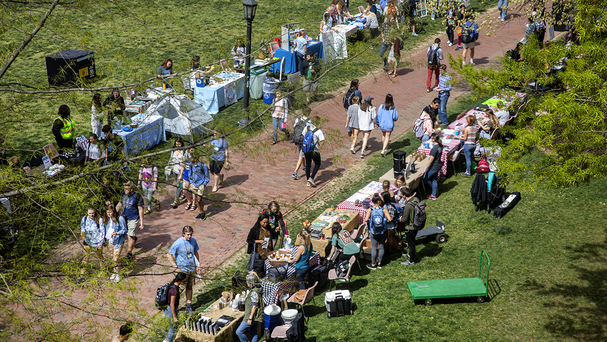 An overview of the Earth Day Fair.