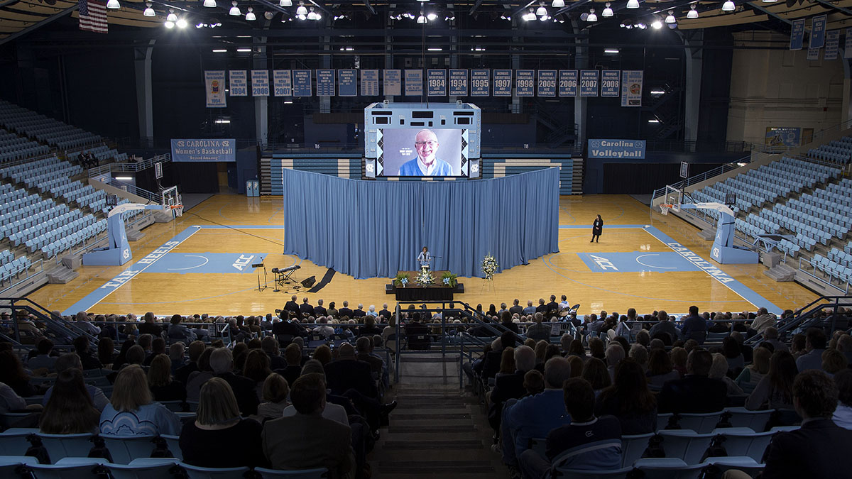 People sit in Carmichael Arena.