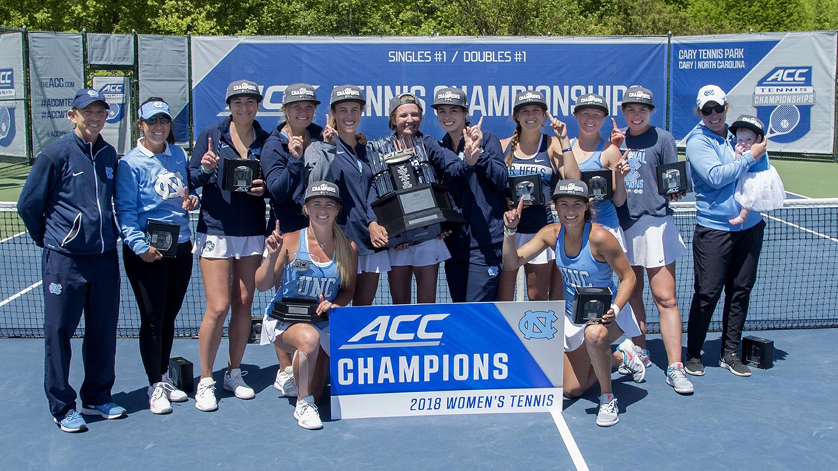 Women's tennis team with ACC trophy.