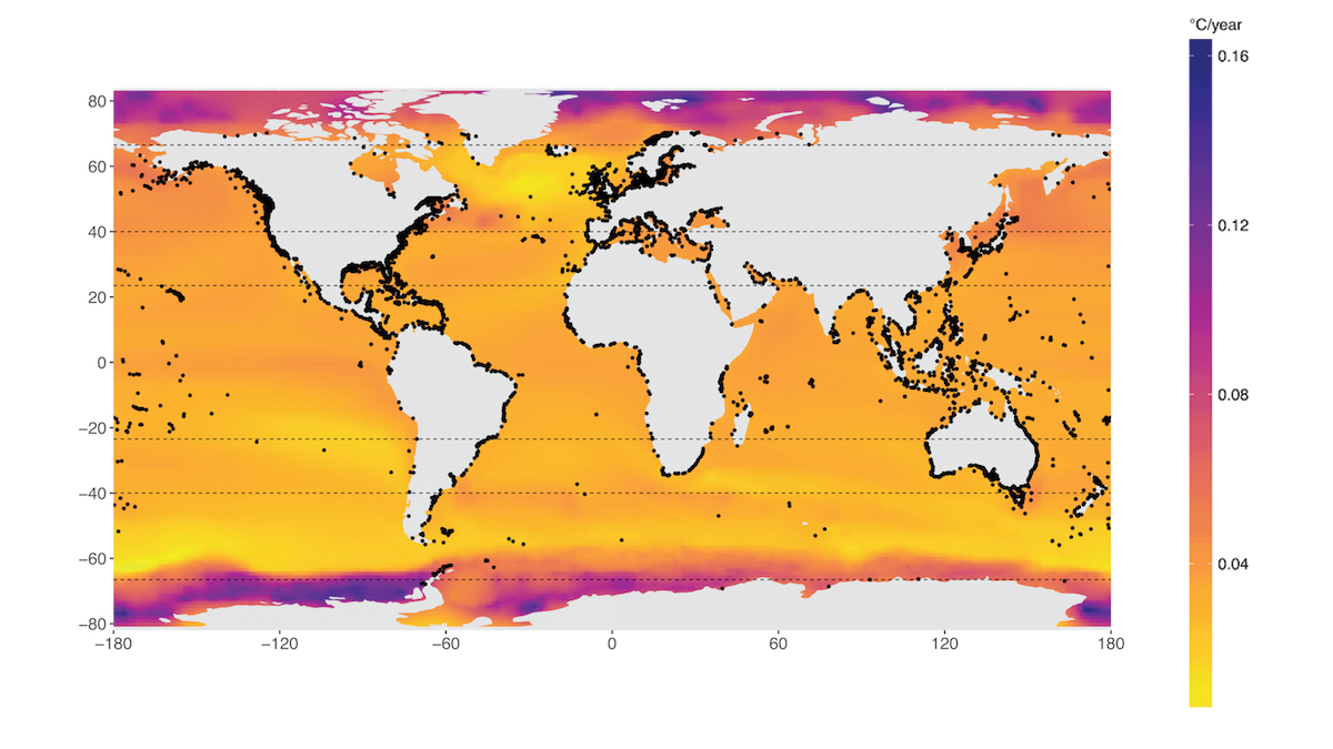 A map shows the projected warming per year of the world's marine protected areas.