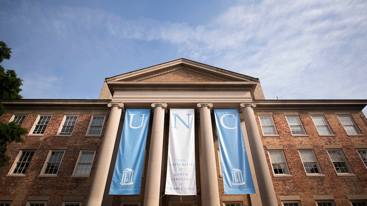 UNC banners hang at South Building