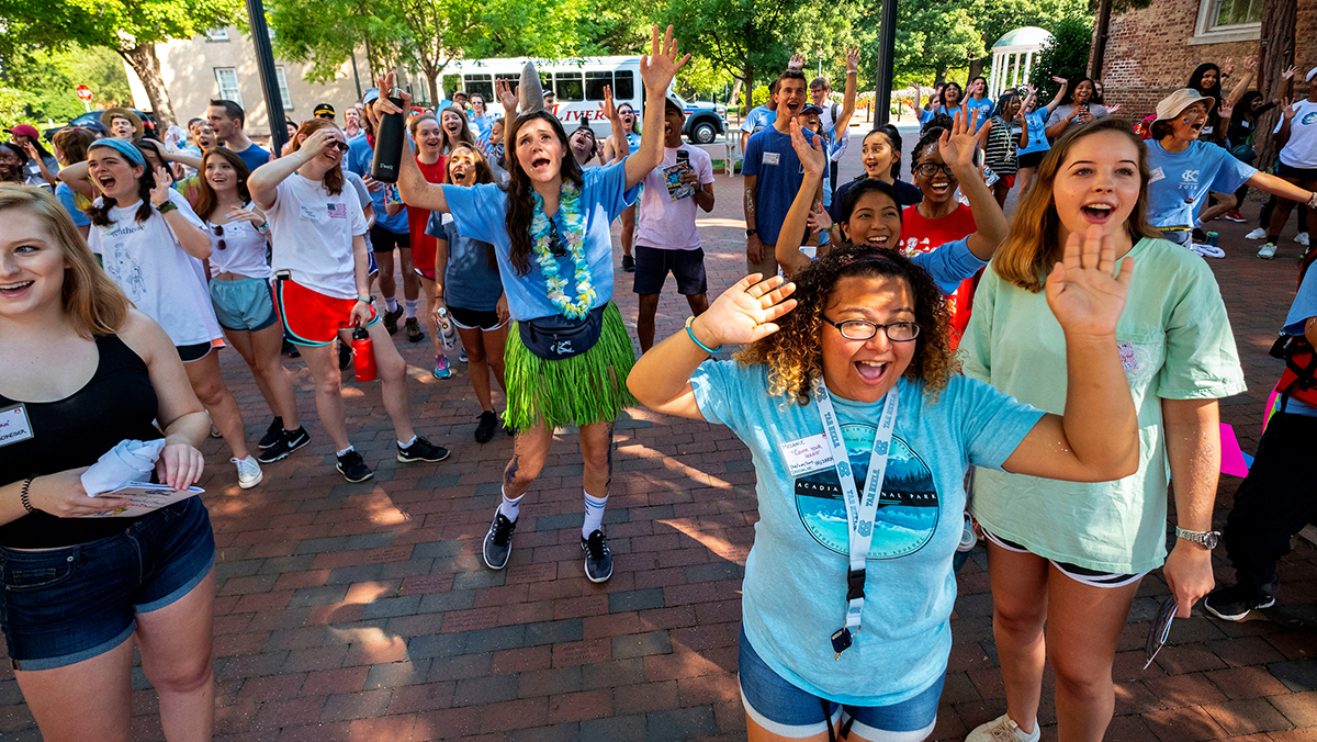 Students dance on campus.