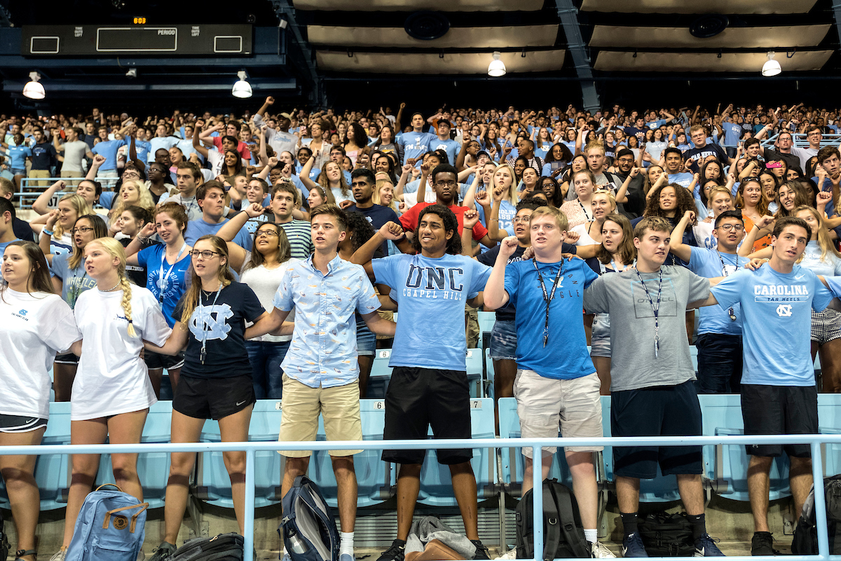 Students cheer during New Student Convocation.