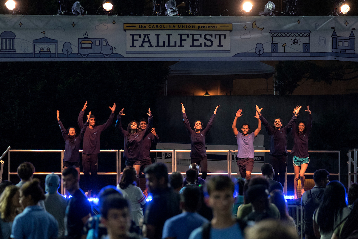 Students dance during FallFest.