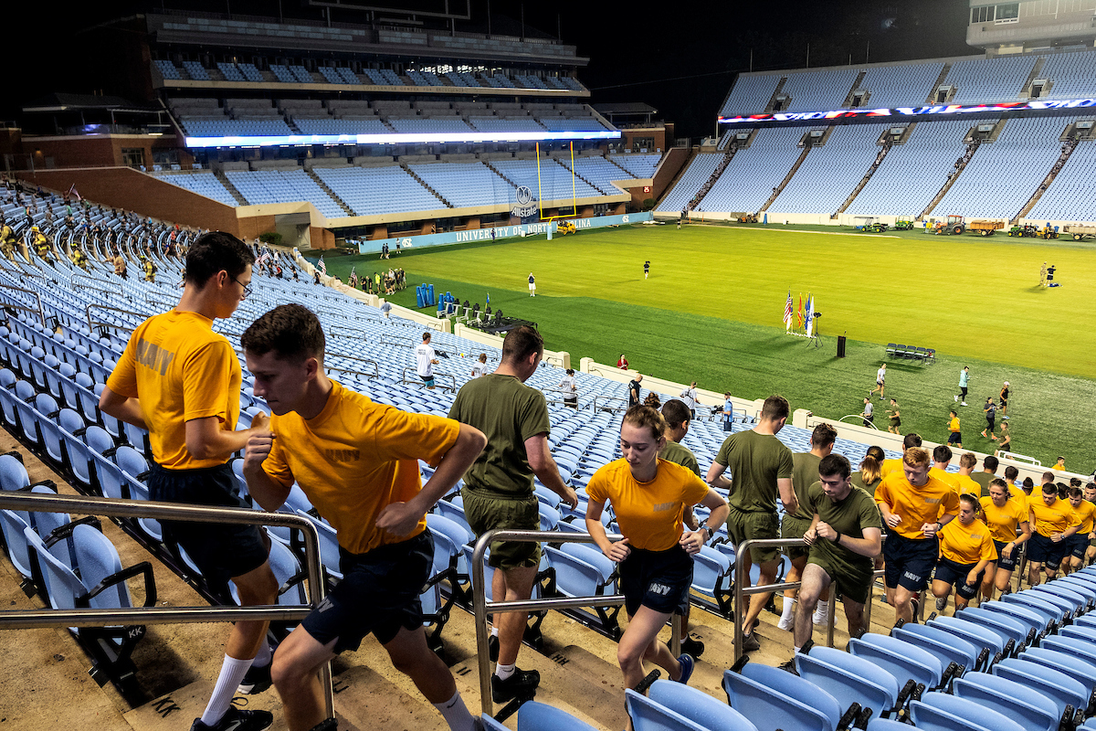 Students run the stairs in Kenan Stadium.