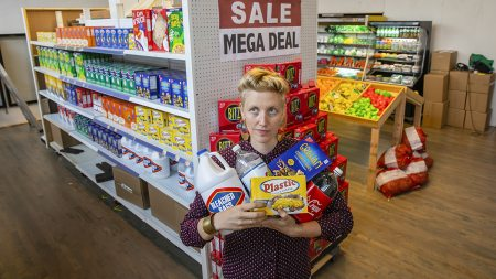 Robin Frohardt in the Plastic Bag Store.