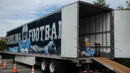 A truck is loaded with donations.