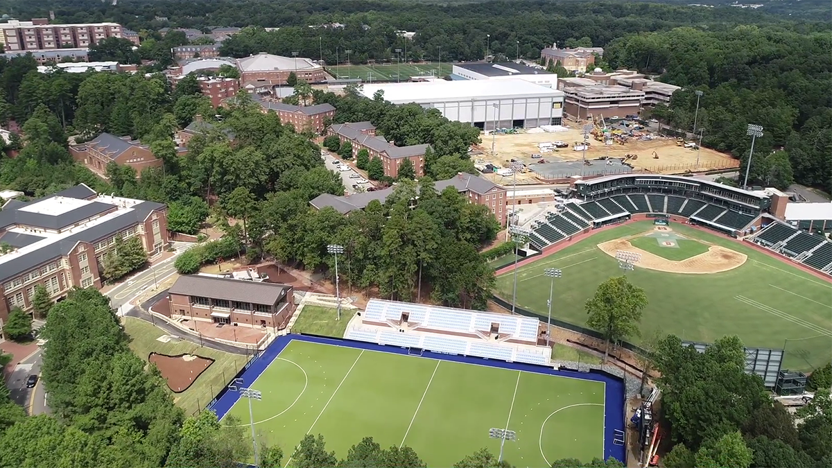 An aerial photo of several construction projects.