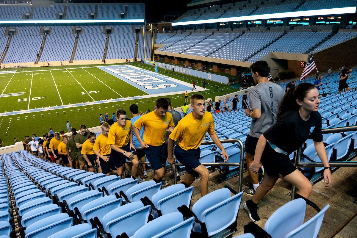 People run the stairs in Kenan Stadium.