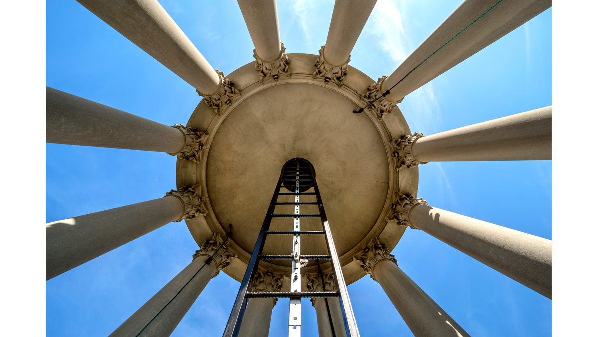 A upward view of the Bell Tower.