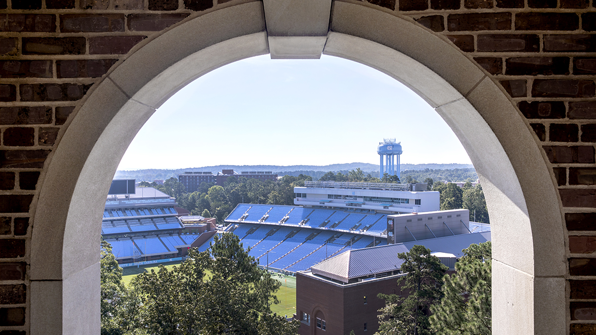 View of Kenan Stadium and the water tower as seen from the Morehead-Patterson Bell Tower.