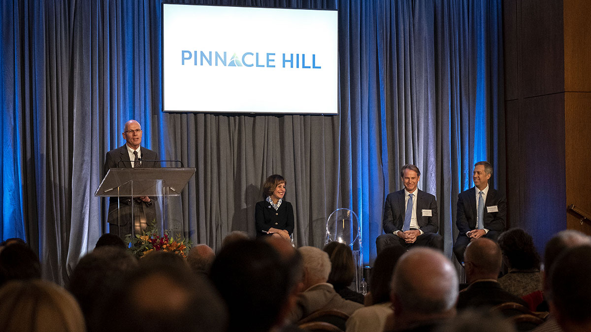 Bob Blouin speaks during the Pinnacle Hill announcement event
