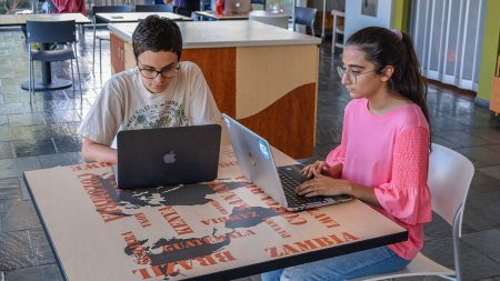 Two students work on their laptops.