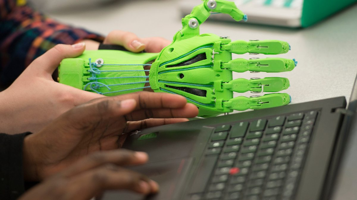 A 3-D printed hand.