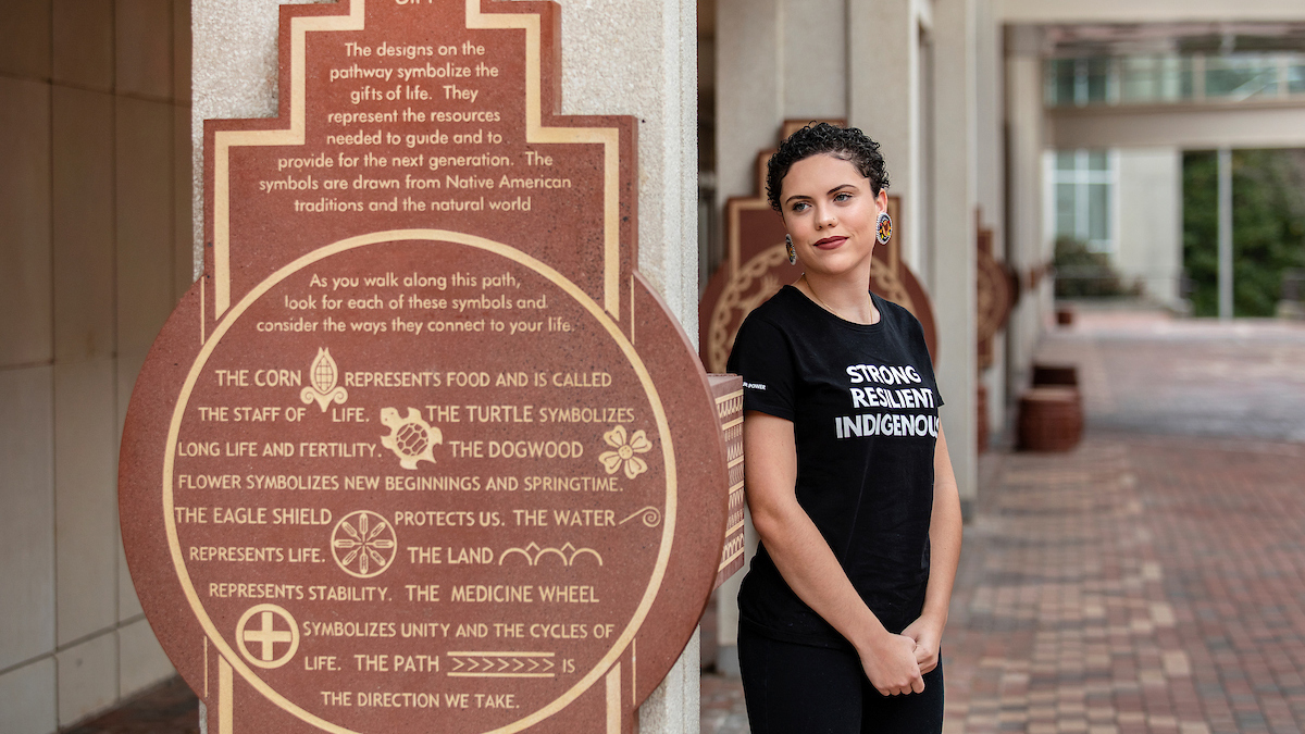 Gabrielle James stands outside the Student Union.