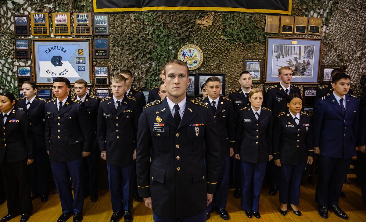 ROTC cadets stand at attention.
