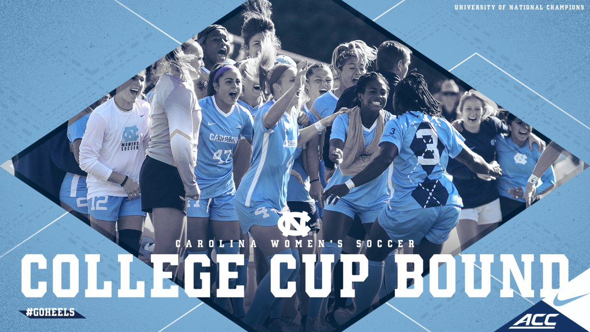 Graphic of Carolina women's soccer team celebrating with words over the image that say College Cup Bound