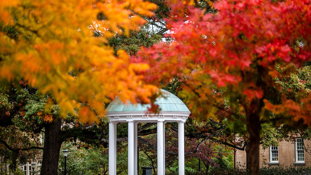 Tree with colored leaves surround the Old Well.