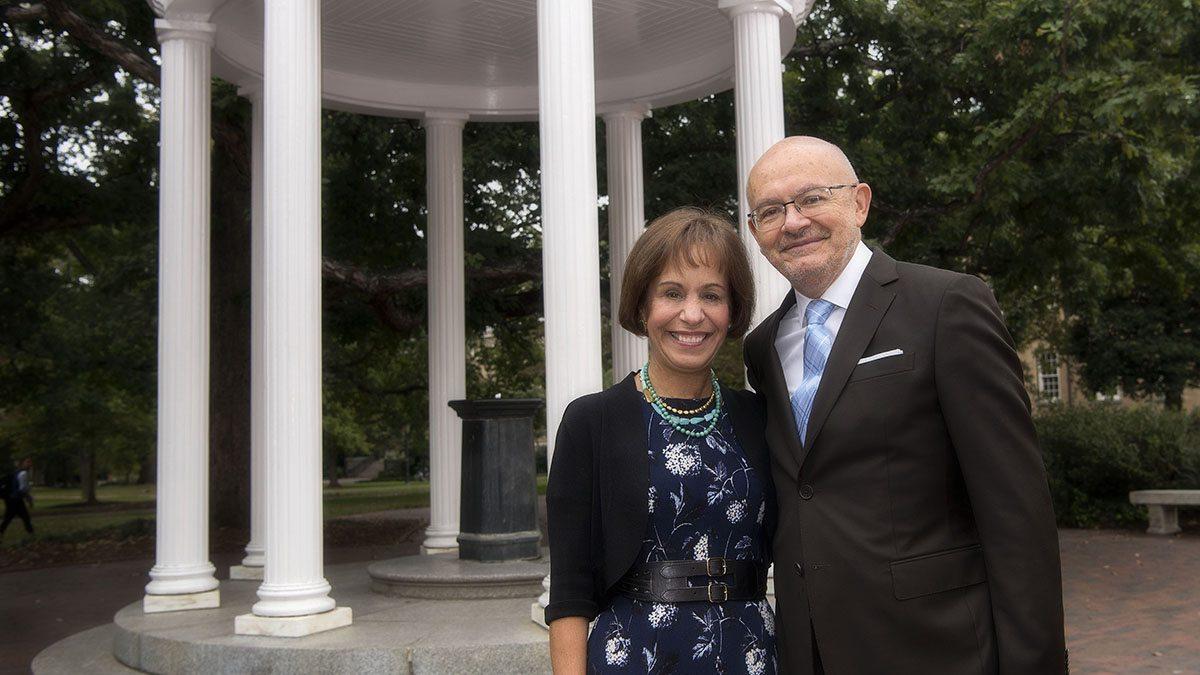 Santiago Gangotena with Chancellor Carol L. Folt.