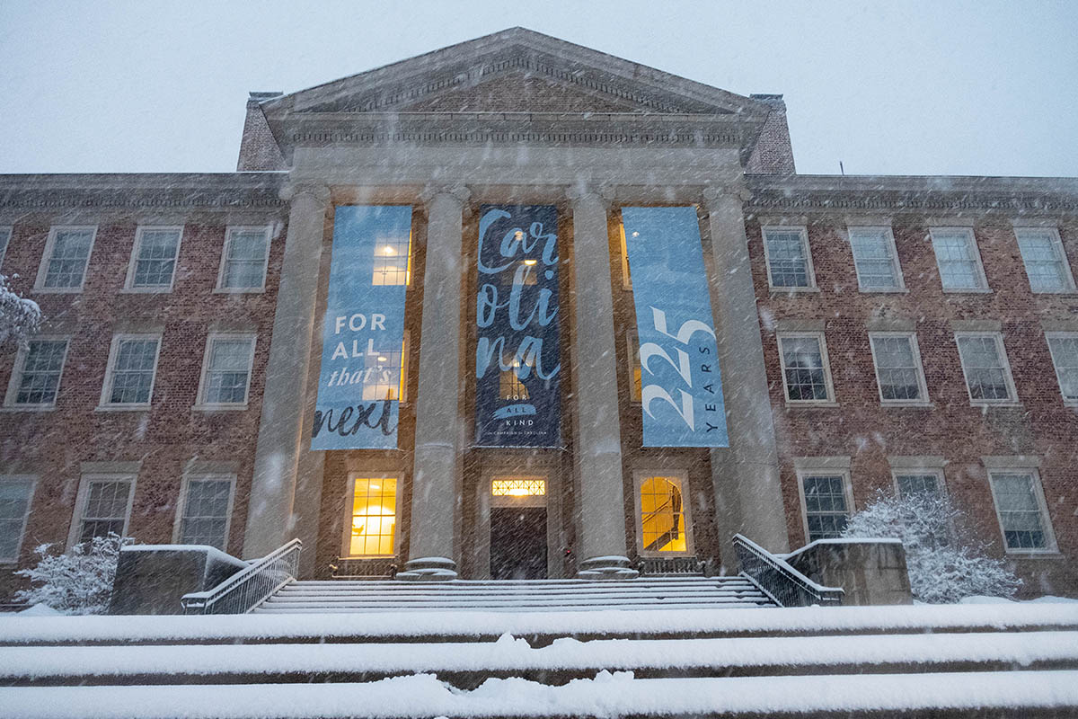 Snow falls near South Building