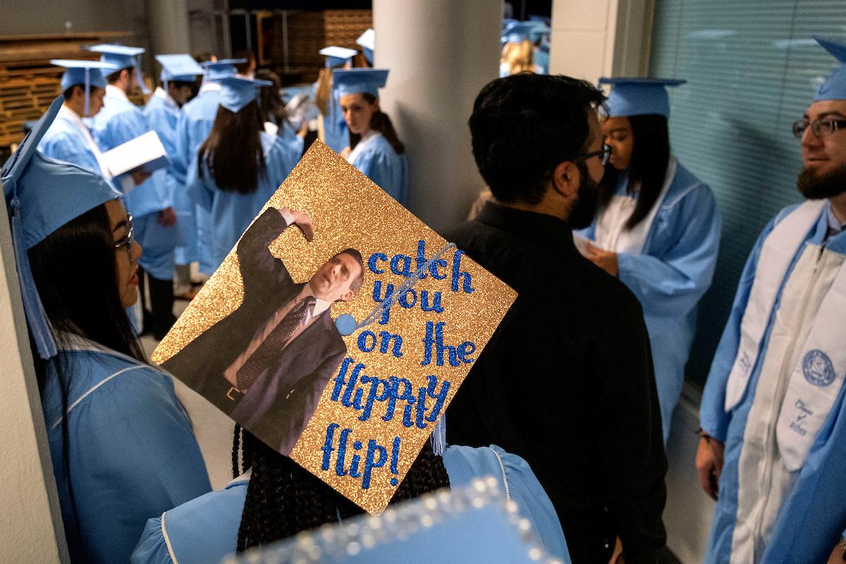 A graduation cap that reads