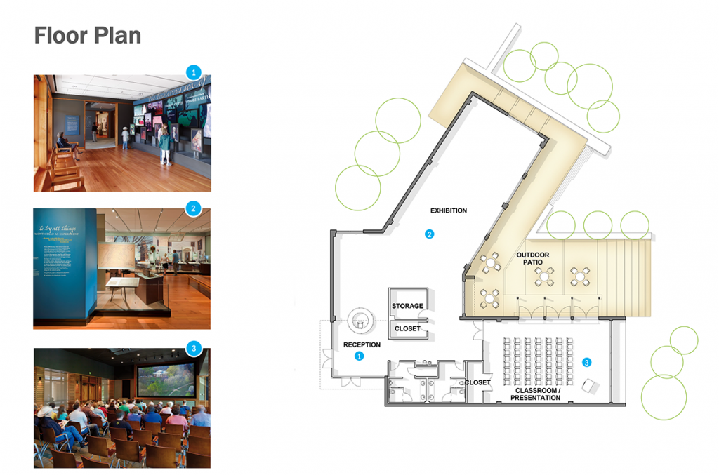 "Graphic displays a floorplan of the proposed center. The proposed layout is in the shape of a ""V,"" with a reception desk at the front doors at the left end of the building. Behind the reception desk is a large exhibition space. To the right of the desk are restrooms and classroom spaces. Behind the proposed facility is an outdoor patio."