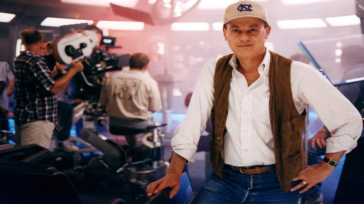 Michael Piller stands on a movie set.