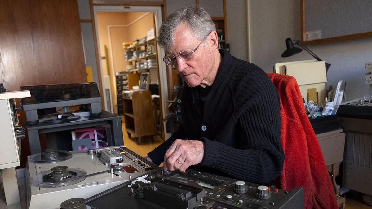 Bill Ferris listens to a recording.