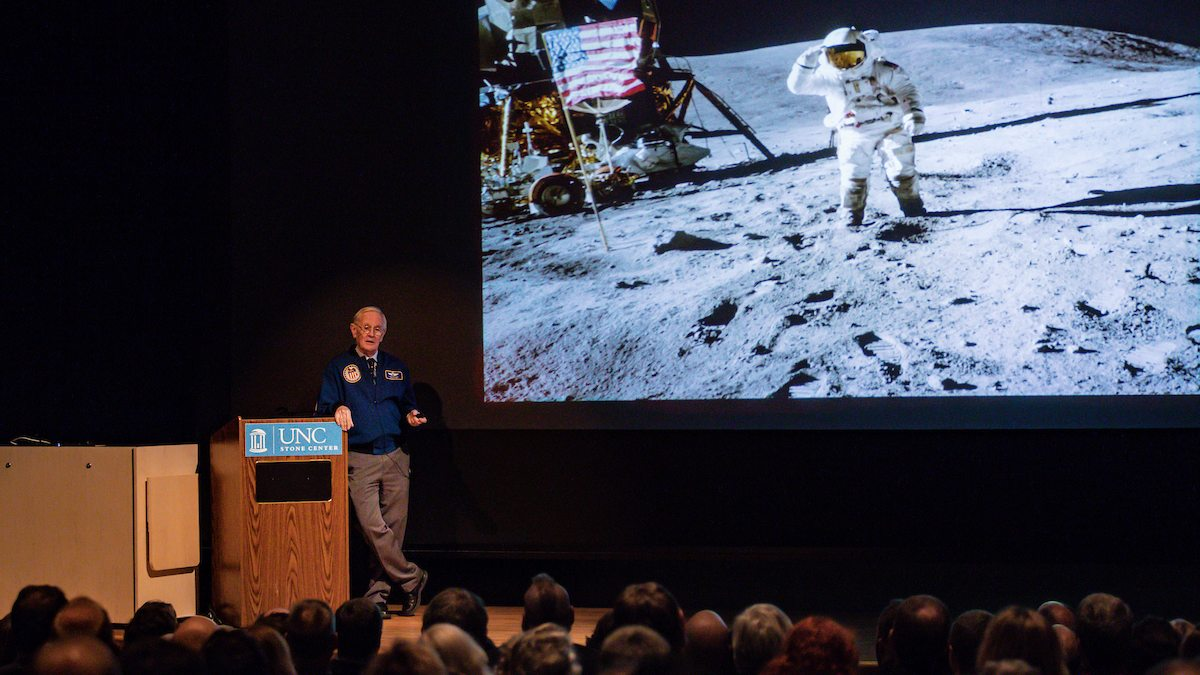 NASA astronaut Charlie Duke speaks at the Sonja Haynes Stone Center.