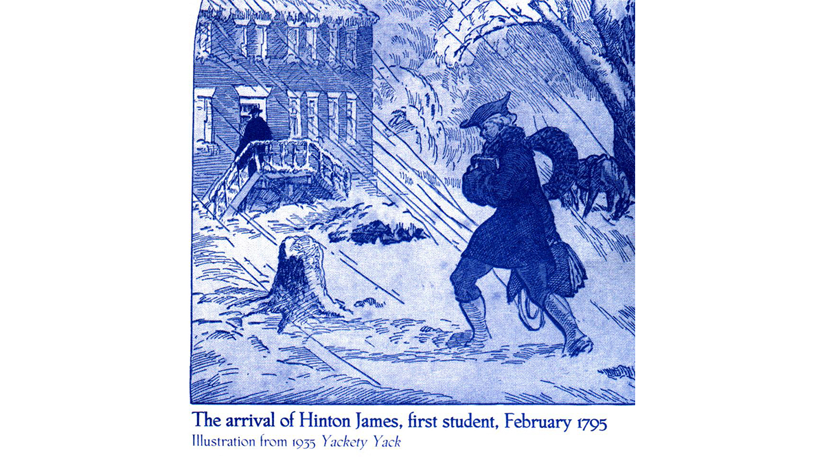 A drawing of Hinton James arriving on campus.